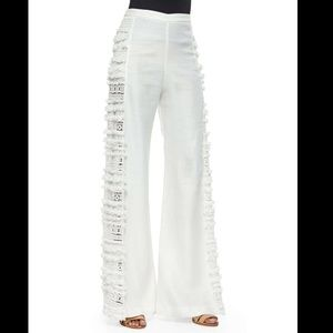 Alexis white linen pants with side panel